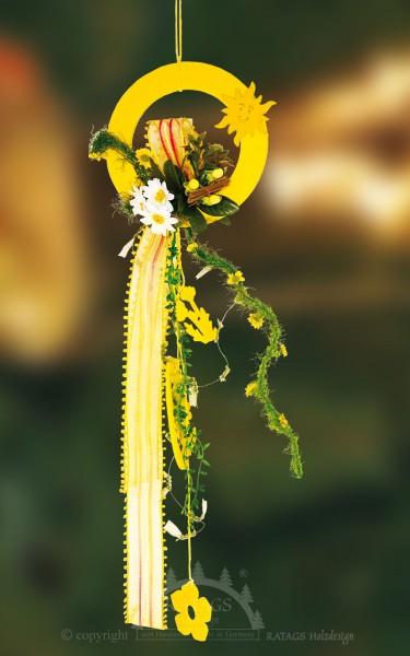 Fensterdekoration, gelb, Floristik, Bänder, Runde Ornamente