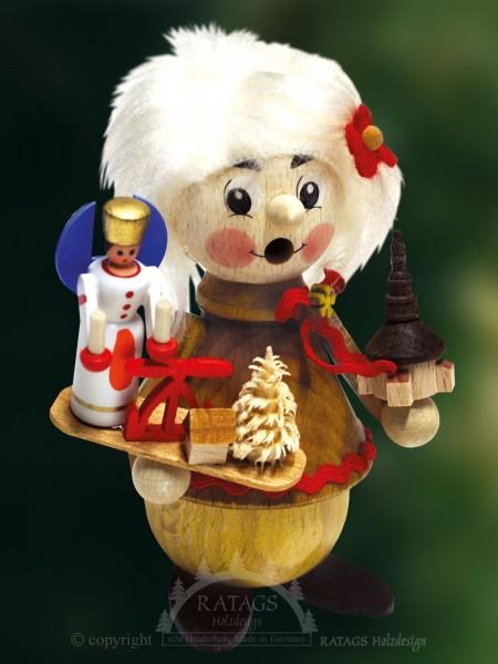 Raeuchermann mit Engel, Weihnachten, echt Erzgebirge
