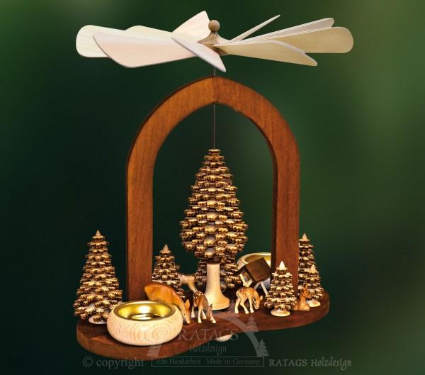 Massivholzbogenpyramide, Weihnachten, echt Erzgebirge
