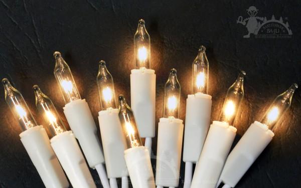 10er Mini-Lichterkette, Lampen klar, Kabel weiß