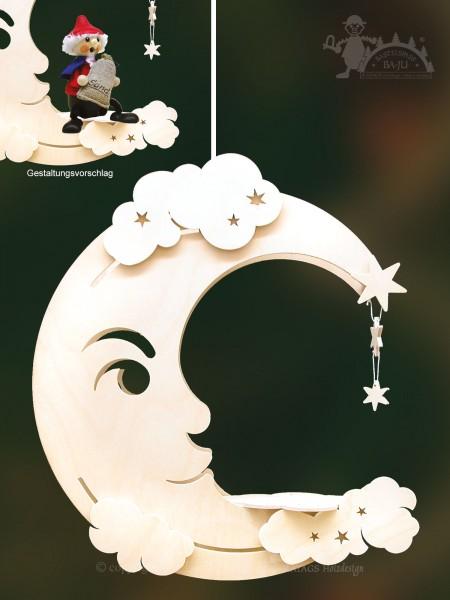 Fensterbild, Mond, Sterne, Bastel, Erzgebirge