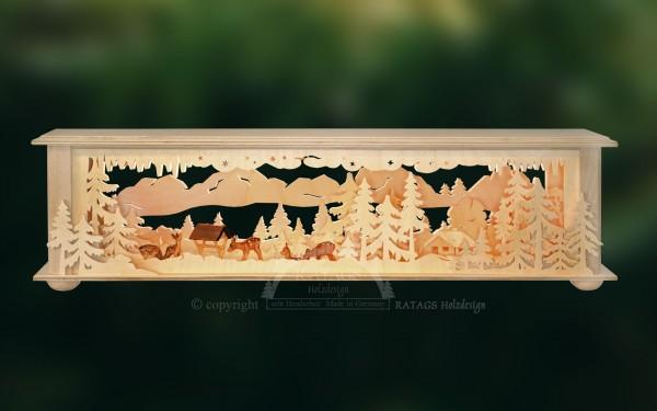 Raumleuchte Wald mit Futterkrippe, Deko, echt Erzgebirge