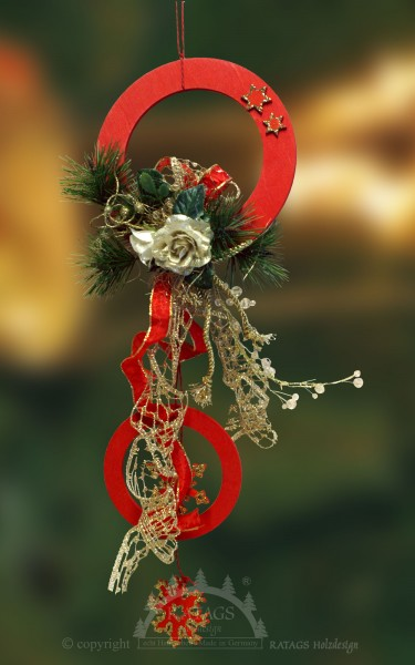 Fensterdeko, Floristik, Schleife, gold, Glocken, rote Ringe