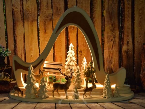 Massivholzbogen Rehe, Deko, Weihnachten, echt Erzgebirge