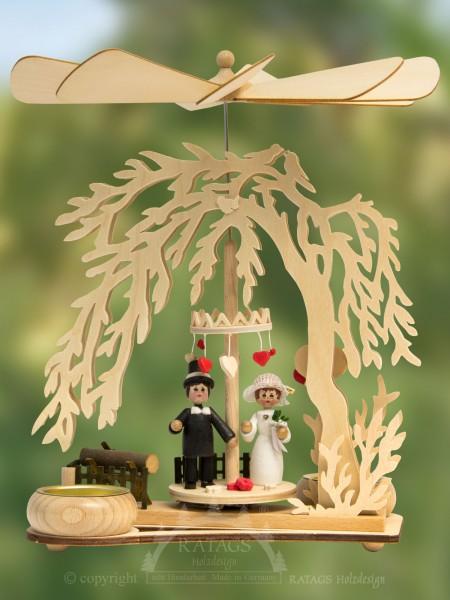 Pyramide Teelicht Gruene Hochzeit, echt Erzgebirge