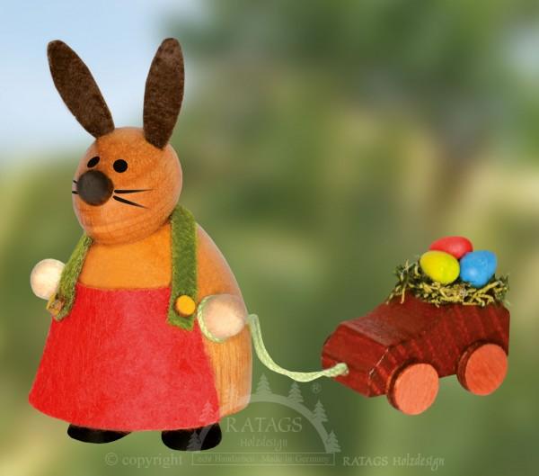 H=E4schen mit Spielauto, Ostern, echt Erzgebirge
