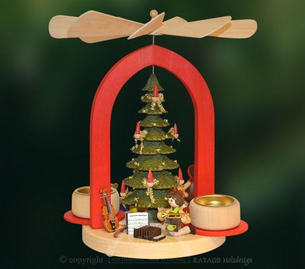 Massivholz Bogenpyramide, Deko Weihnachten, echt Erzgebirge
