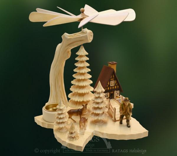 Blattpyramide Waldmann, Deko Weihnachten, echt Erzgebirge