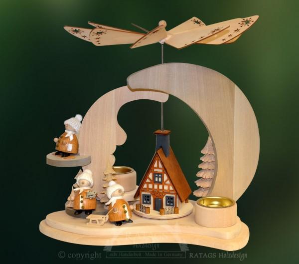 Massivholz Mondpyramide, Weihnachten, echt Erzgebirge