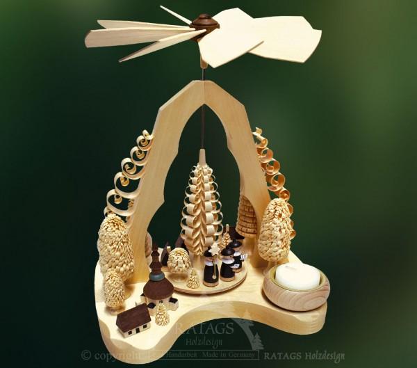 Spanbogenpyramide Kurrende, Weihnachten, echt Erzgebirge
