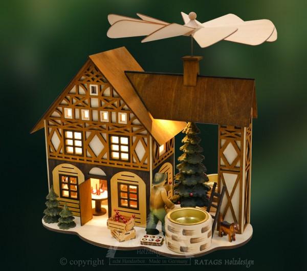 Fachwerkhauspyramide, Weihnachten, echt Erzgebirge