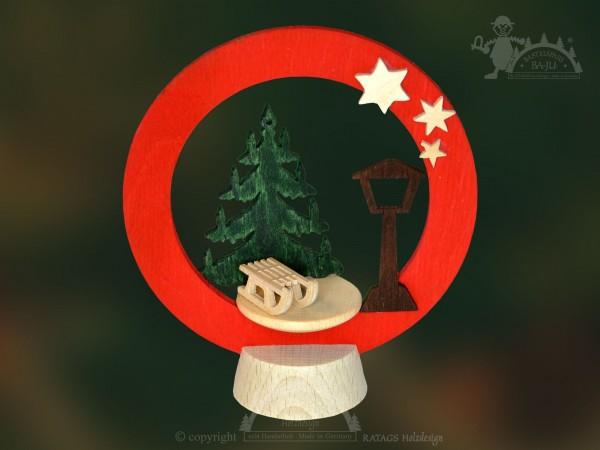 Tischschmuck Weihnachten, Schlitten, Deko, echt Erzgebirge
