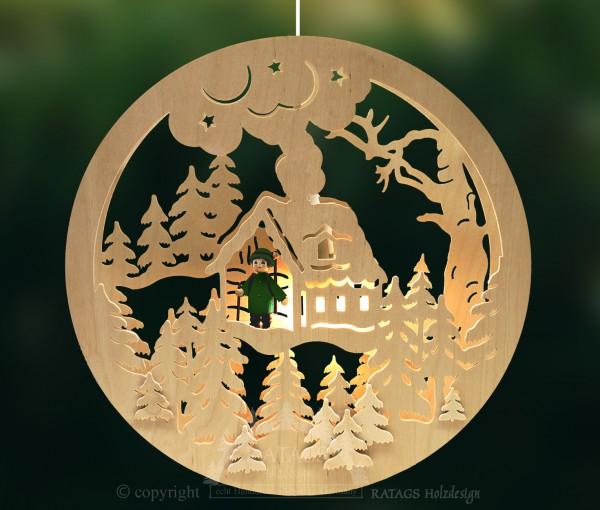 Fensterbild, beleuchtet, Waldhütte, mit Förster