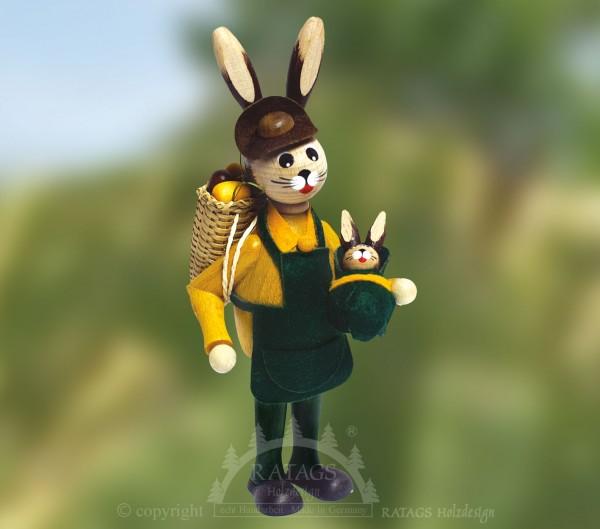 Osterhase mit Korb inkl. Eier und Kind, echt Erzgebirge