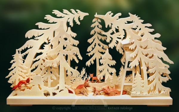 Schwibbogen Fuchsfamilie, Echt Erzgebirge, Deko, Holzkunst