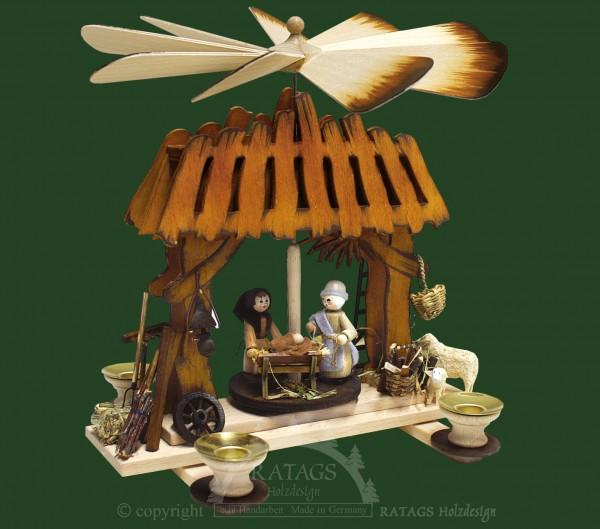 Stallpyramide Christuskind, Weihnachten, echt Erzgebirge