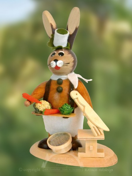 Koch Hase mit Besteck + Gem=FCse, Ostern, echt Erzgebirge