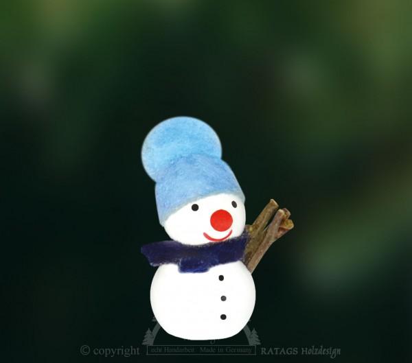 Schneemann, blaue Mütze
