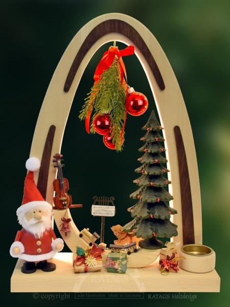 Massivholzbogen, Weihnachtsmann, Tannenbaum, Geschenke