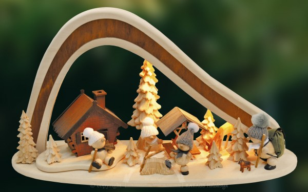 Massivholzbogen Winter, Deko, Weihnachten, echt Erzgebirge