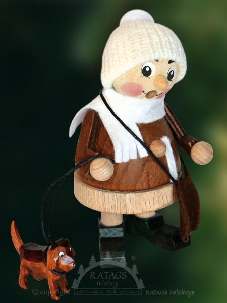 Raeuchermann Kind mit Hund, Weihnachten, echt Erzgebirge