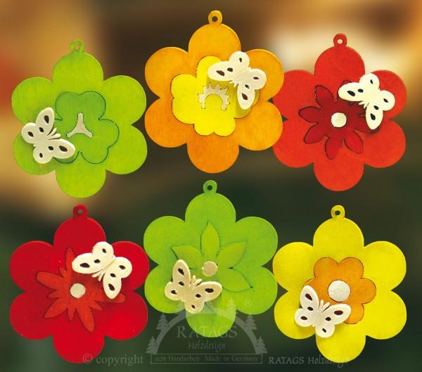 Baum- Strauchbehang, Deko, Intarsie, Schmetterling, farbig,