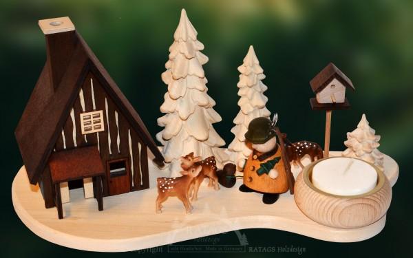 Raeucherhaus mit Jaeger, Deko, Weihnachten, echt Erzgebirge