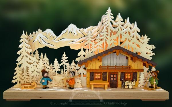 3D-Schwibbogen Bergh=FCttengaudi, echt Erzgebirge, Holzkunst