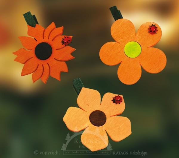 Ansteckklammer, Deko, Blume, echt Erzgebirge, orange