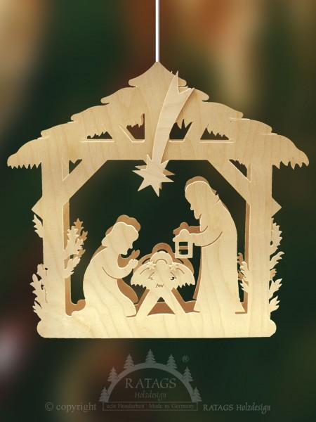 Fensterbild, beleuchtet, Geburt Christi