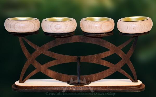 Vierarmleuchter, Teelichthalter, Deko, echt Erzgebirge
