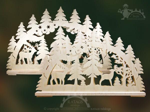 Schwibbogen Hirsche im Wald, Weihnachten, echt Erzgebirge