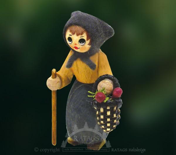 Figur, Waldfrau mit Stock und Korb