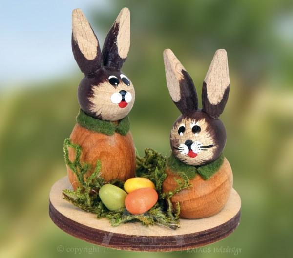 Tischschmuck Hasenp=E4rchen, Ostern, echt Erzgebirge