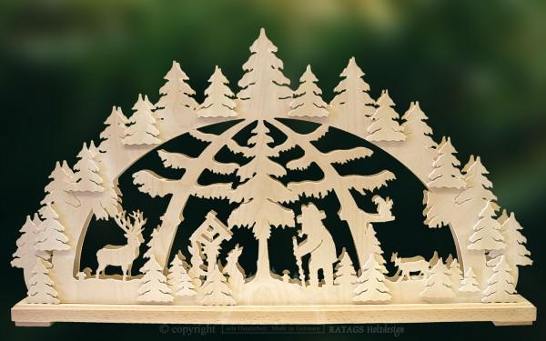 Schwibbogen Waldspaziergang, Weihnachten, echt Erzgebirge
