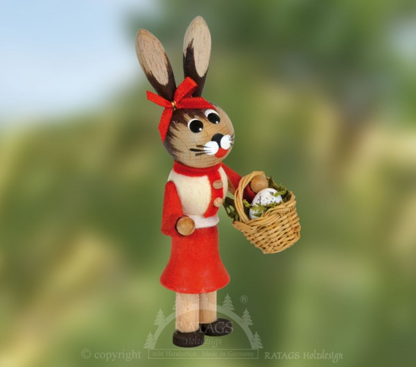 Hasenm=E4dchen mit Korb und Ei, Ostern, echt Erzgebirge