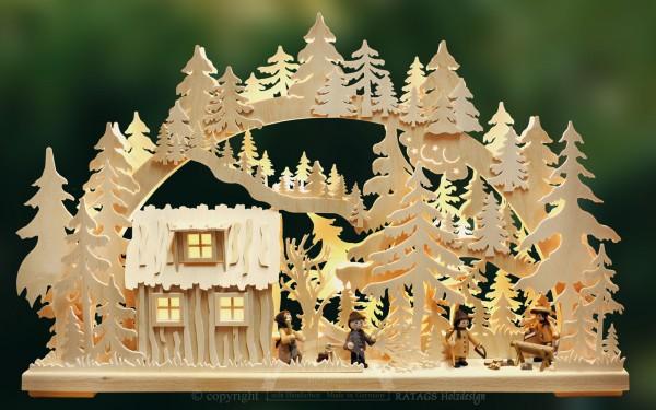 Schwibbogen Blockhuette, Weihnachten, echt Erzgebirge, Deko