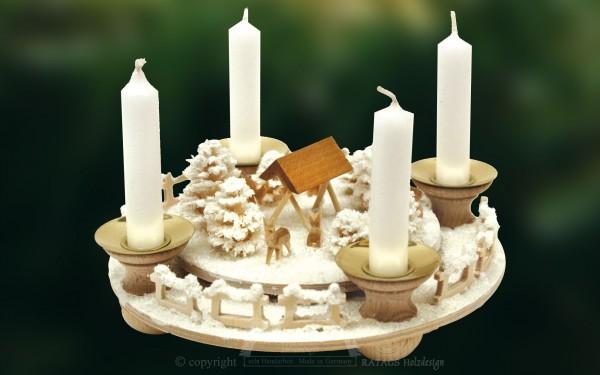 Adventsring, Kerzenhalter, Rehe, Futterkripee, Schnee, Frost